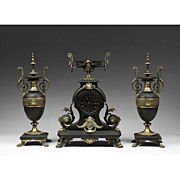 Mid 19th C. French  Japy Freres Three Piece Clock Garniture Set