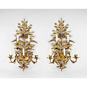 Mid 20th C. Gilded Wrought Iron Maison Bagues Style Sconces