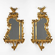 Pr. of Late 19th C. George III Style Wall Mirrors With Shelves