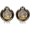 Pair of Hand Painted Paris Porcelain Shell Shaped Dessert Dishes