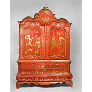 Red Chinoiserie Decorated 19th C. Dutch Linen Press