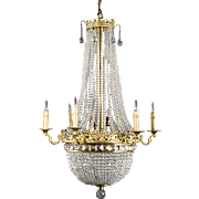 Early 20th Century French Empire Style Beaded 10-Light Chandelier