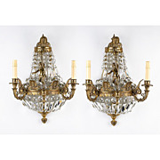 Pair of Art Nouveau Brass Demilune Prism Wall Sconces