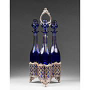 Harcourt Baccarat Cobalt Cut to Clear Decanter Tantalus