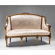 Carved Giltwood Louis XVI Canape a Confidents or Sofa