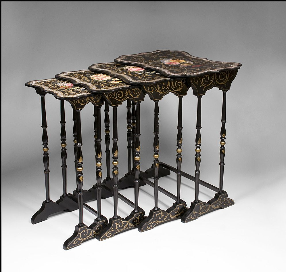English Victorian Papier Mache Lacquer Nesting Tables From