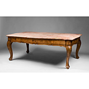 Mid 20th C. Italian Walnut Marble Top Coffee Table