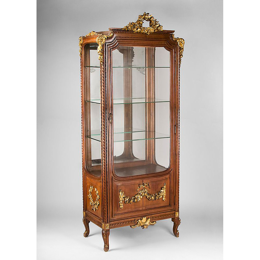 19th C. Louis XV Carved Giltwood And Mahogany Vitrine