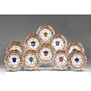 Set of 10 Porcelain Heraldic Capodimonte Style Service Plates
