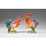 Pair of Murano Glass Fighting Roosters