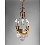 Bronze Lantern Chandelier With Relief Molded Opalescent Glass Globe