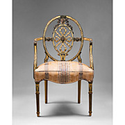 Painted Sheraton Pierced Back Ribbon Carved Armchair