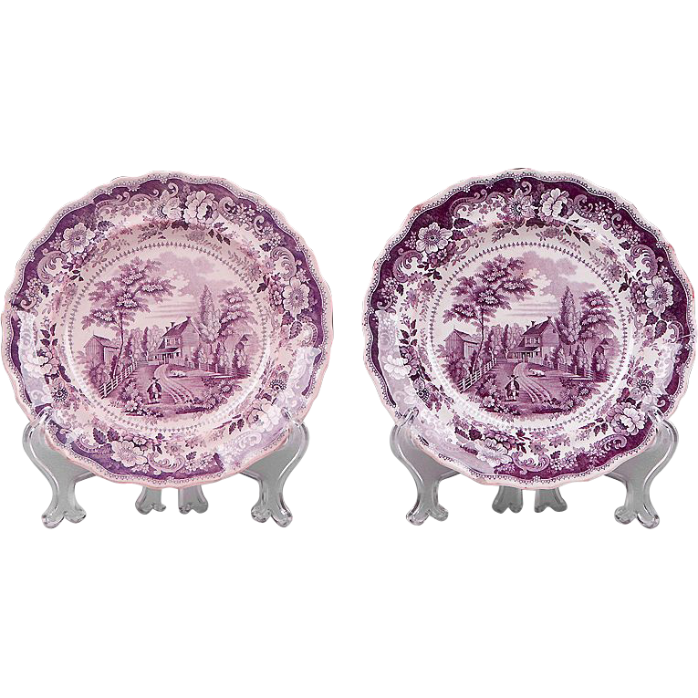 Pr. Of American Historical Staffordshire Purple Transferware Plates by Joseph Heath & Co., 1835