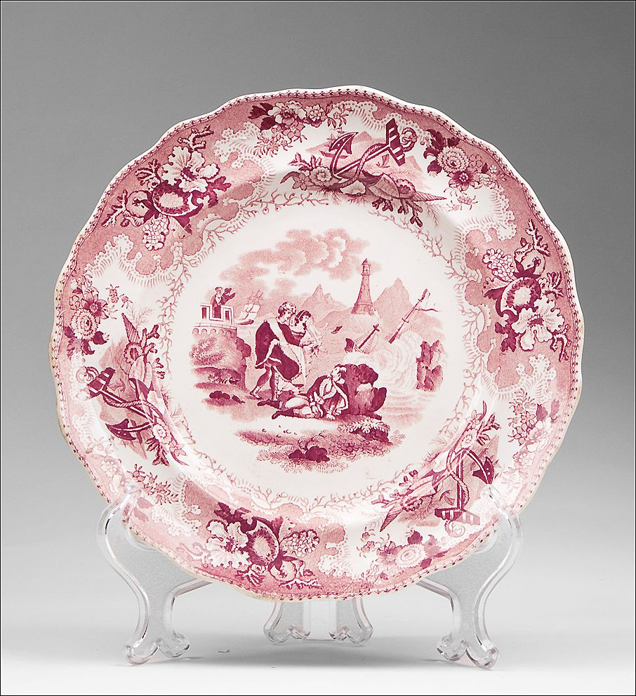 William Adams & Sons Historical Transferware Mulberry Red Plate, The Sea