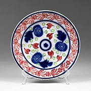 19th C. Bullseye Flow Blue Cut Spongeware Stick Spatter Plate