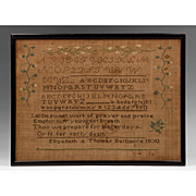 American Schoolgirl Linen Needlework Sampler, 1830