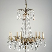 8 Light Tiered French Crystal Chandelier, After Jansen