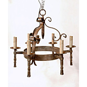 Early 20th C. French Hand Forged Iron Chandelier