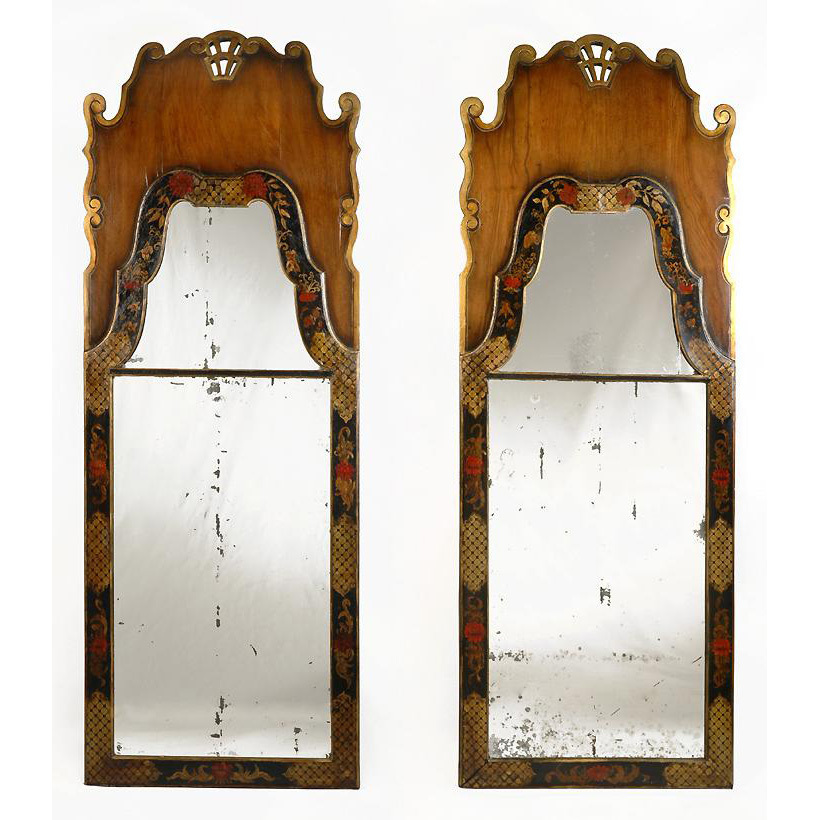 Pr. 18th C. Queen Anne Chinoiserie Decorated 2-Part Mirrors