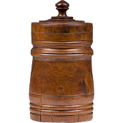 19th C. Walnut Wood Hand Turned Treenware Canister