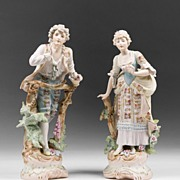 Pr. 19th C. Haas & Czjzek Bisque Hand Painted Figures