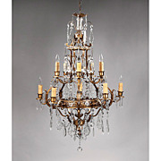 Crystal And Bronze Chandelier, Cage Shaped, Hand Cut Pendalogue Prisms