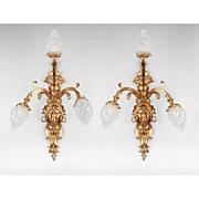 Early 20th C. Cast Bronze Dor� French Three Light Sconces