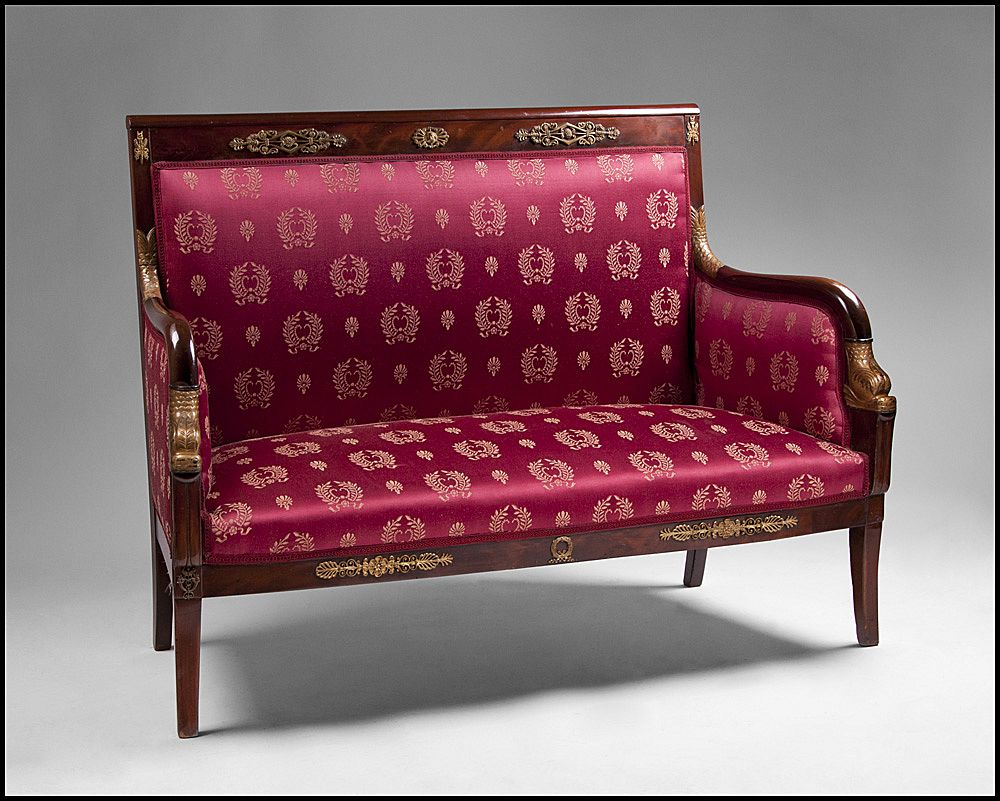 Early 19th Century Period French Empire Swan Neck Settee From Piatik