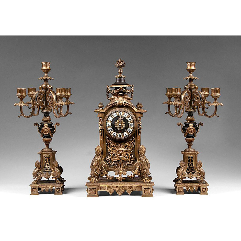 Three Piece 19th Century Tiffany & Co. Clock Garniture Set