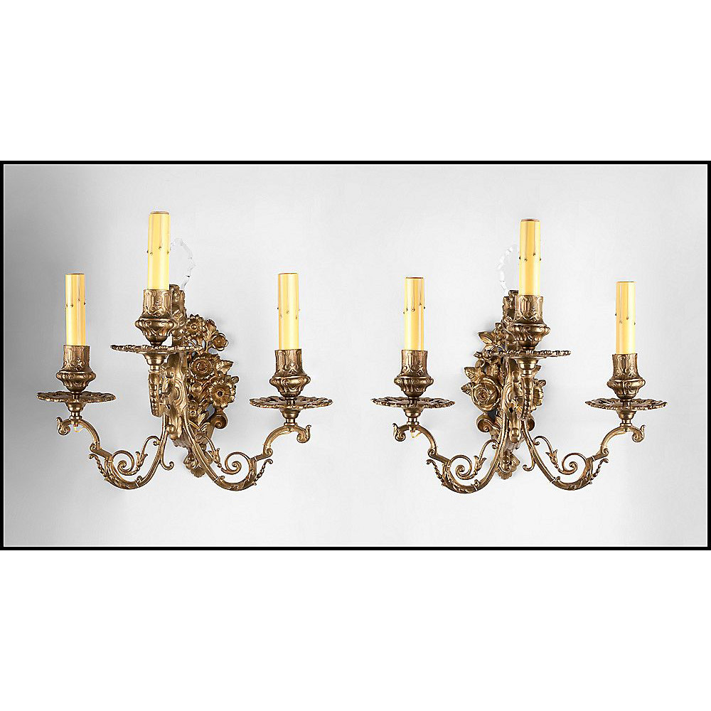 19th C. Bronze Cast French Baroque Style Three Arm Sconces