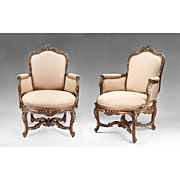 Pair of 18th C. Gesso And Gilt Italian Carved Venetian Rococo Bergeres or Armchairs
