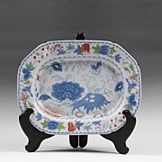 Masons India Grasshopper Blue With Color Ironstone Platter