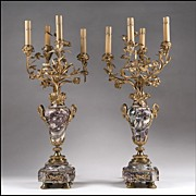 Mid 19th Century French Louis XV Style Marble and Bronze Candelabras