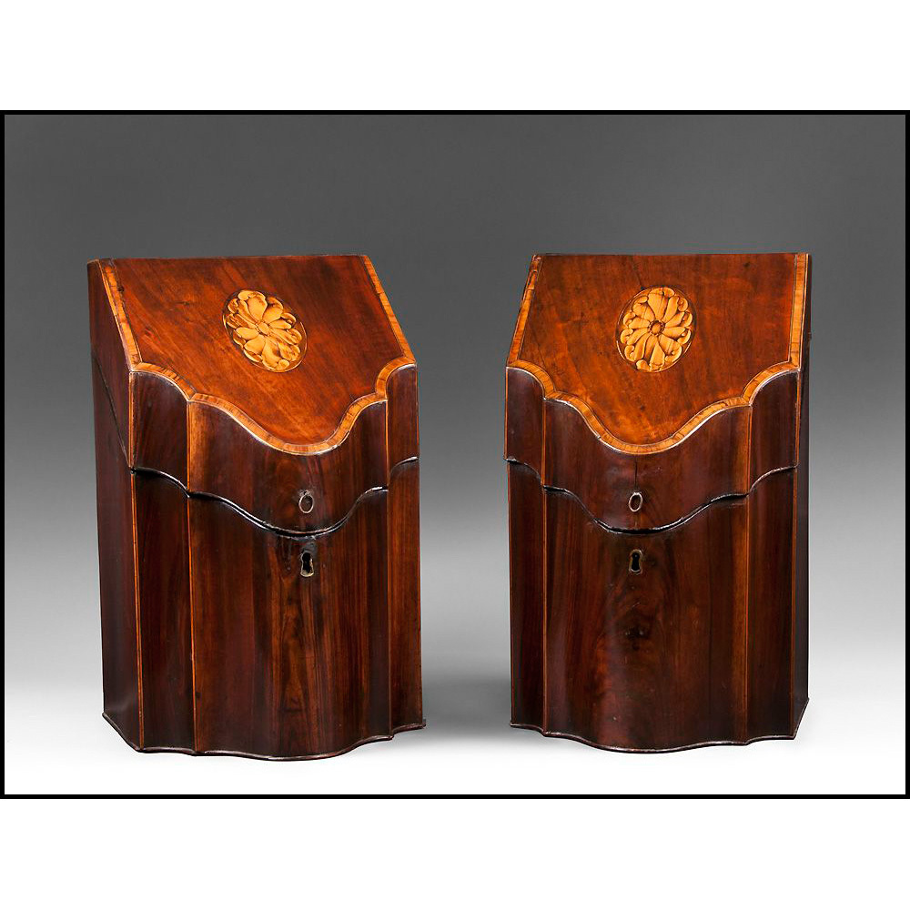 Matched Pair of George III Mahogany Inlaid Knife Boxes, Fitted Interiors
