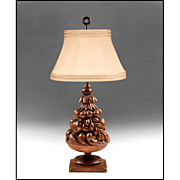 Walnut Hand Carved Italian Fruit Tower Lamp
