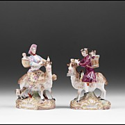 Pair of 19th C. Porcelain Figures of Bruhls Tailor And His Wife