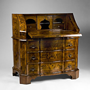 Mid 19th C. Northern Italian Olive Wood Slant Front Bureau Desk
