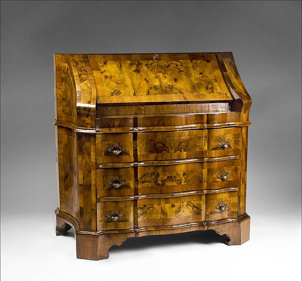18th C. Northern Italian Olive Wood Slant Front Bureau Desk from