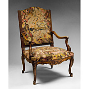 French 19th C. Louis XV French Provincial Armchair With Needlepoint Tapestry