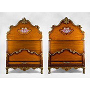 Pair of Louis XV Style Satinwood Painted Twin Beds