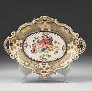 1830 English Ridgway Botanical Dessert Dish