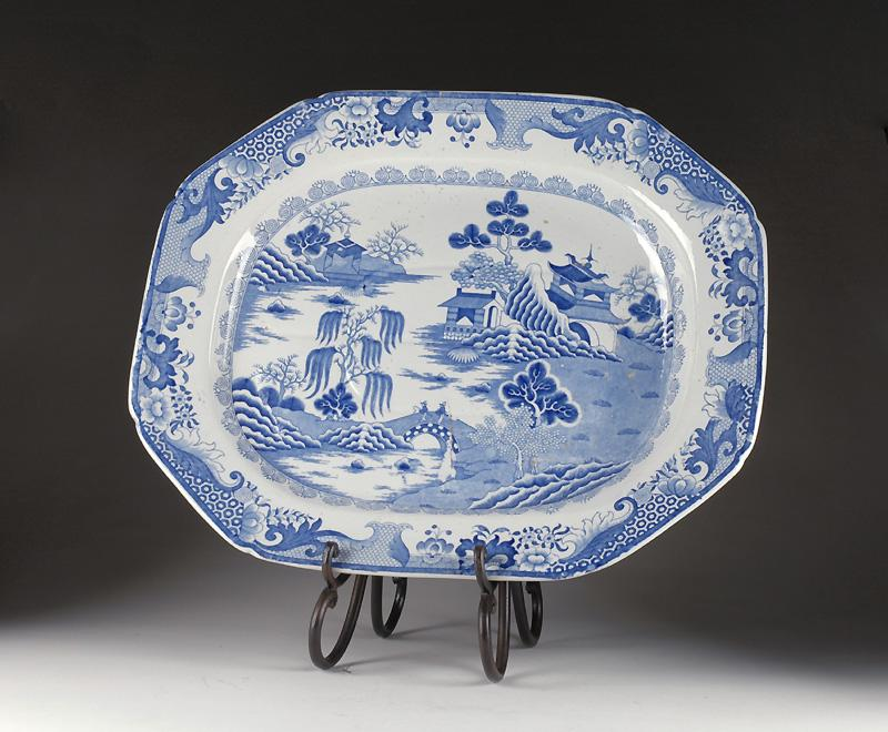 Large Mason's Ironstone Meat Platter 1813-25, Chinese Landscape