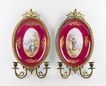 Hand Painted Paris Porcelain Plaques Mounted In Ormolu As Sconces