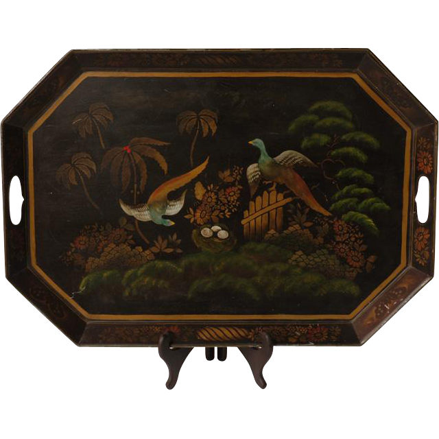 Vintage Toleware Tray Painted with Pheasants