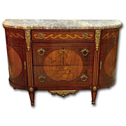 19th Century French Louis XVI Demilune Inlaid Commode