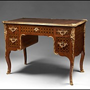 19th C. Louis XV Bronze Mounted Inlaid Bureau Plat or Partners Writing Desk