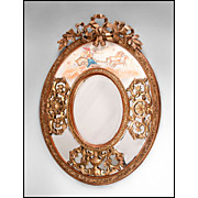 French Louis XVI Oval Carved Giltwood Mirror, Painted Panel