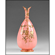 Royal Crown Derby Pink Ground Ewer With Gilt Enamel