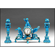 19th C. Blue Turquoise Glazed Sevres Style Clock Garniture Set