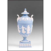 1899 Blue Jasper Dip Wedgwood Urn, Dancing Hours